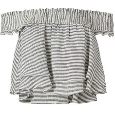 Apiece Apart EXCLUSIVE Striped Ruffle Top (945 BRL) ❤ liked on Polyvore featuring tops, white frilly top, layered tops, double layer top, flounce top and frill top