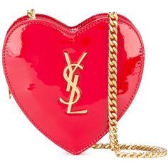 Saint Laurent mini 'Love' crossbody heart bag found on Polyvore featuring bags, handbags, shoulder bags, red, red shoulder bag, red purse, cross-body handbag, mini purse and yves saint laurent purses