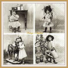 PAPER napkins for DECOUPAGE - Four VINTAGE Girls Sagen Vintage #S003 by VintageNapkins on Etsy