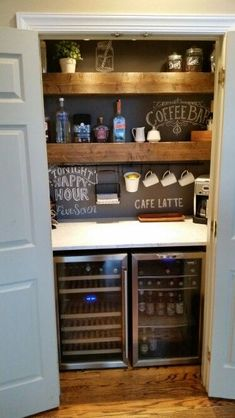 Here are 30 brilliant coffee station ideas for creating a little coffee corner that will help you decorate your home. See more ideas about Coffee corner kitchen, Home coffee bars and Kitchen bar decor, Rustic Coffee Bar. Wine And Coffee Bar, Coffee Bar Home, Home Coffee Stations, Home Wine Bar, Iced Coffee, Coffee Bar Ideas, Coffee Bar Station, Coffee Bar Design, Coffee Barista