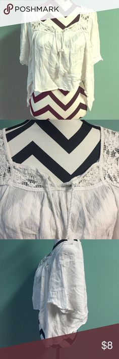 Hollister Summer Gauze Crochet Tie Crop Blouse Good condition. Size small, true to size. Brand is Hollister. No trades or holds. Hollister Tops Blouses