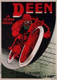 Deen Red Devil Motorcycle Daredevil French Art Poster SKU3013   eBay