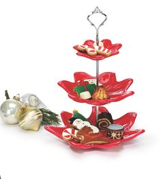 Poinsettia Tiered Serving Set