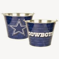 Dallas Cowboys Team Color Metal Beer Bucket: x Full color metal bucket w/ handle Holds up to 6 Long Neck bottles with Ice Officially licensed