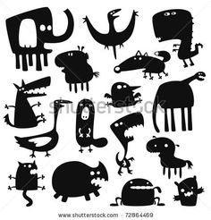Collection of cartoon funny vector animals silhouettes by artenot, via ShutterStock