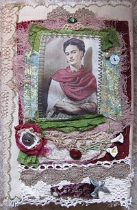 Book  frida, kahlo, black journal, sketchbook, altered art, mixed media, fabric collage, vintage lace, milagro, tattered, lillies