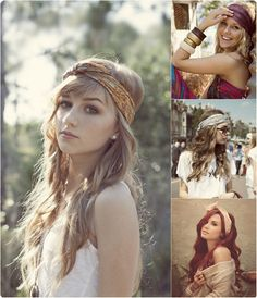 wavy hairstyle with bandanas and clip in medium hair extensions