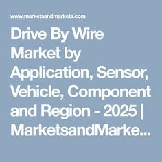 Drive By Wire Market by Application, Sensor, Vehicle, Component and Region - 2025