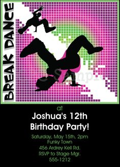 Break Dance Birthday Invitation Break by CutiesTieDyeBoutique, $15.00