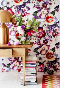 Painterly effect florals have come back in a big way. I love this Rubelli 'Malvasia' floral fabric paired with copper accents and a bold che...