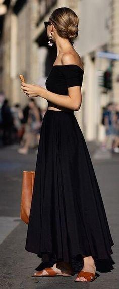 beautiful black set: crop top + maxi skirt