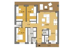 Larger three bedroom bungalow with flat roof and lots of storage space that is not demanding for construction. Guest House Plans, House Layout Plans, My House Plans, House Layouts, Modern Bungalow Exterior, Bungalow Haus Design, House Plans Mansion, Beautiful House Plans, Village House Design