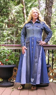 Recycled Coat, Upcycled, Denim Jeans Coat, Dress,  Stevie Nicks Long, Maxi, Duster, Hippie, Bohemian, Ready to Ship by VintageDesignByVines on Etsy