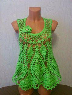 Katia Ribeiro Moda & Decoração Handmade: Blusa em crochê ponto abacaxi com passo a passo e gráfico