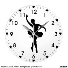 Ballerina Silhouette On A White Background hearts clock (large)