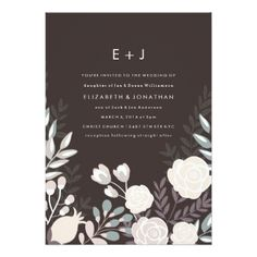 Charcoal Fancy Floral Wedding Invitation - tap to personalize and get yours#wedding #invitation #weddingideas #weddinginspiration  #flower #floral #botanical #garden #outdoor #nature #romantic #editable