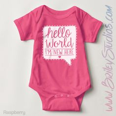 Hello World I'm New Here Newborn Baby Outfit, Birth Announcement, Coming Home, Personalized Baby Shower Gift, Gender Neutral Infant Clothes by BrileyStudios on Etsy