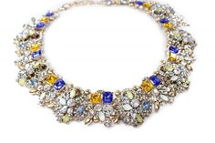 Collar joya barroco con cristales azules y amarillo