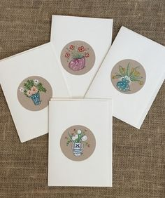Set of 4 Note Cards Original Watercolor Paintings 5x7 cards with envelopes -Bouquet of Flowers in Vase Series, Tiny Wall Art