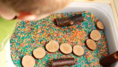 Wooden Pieces Open Ended Sensory Bin