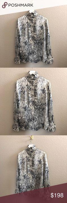 Spotted while shopping on Poshmark: St. John Printed Ruffle Trim Silk Blend Blouse Top! #poshmark #fashion #shopping #style #St. John #Tops