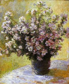 Vase of Flowers by Claude Monet in oil on canvas, done in c. Now in The Courtauld Gallery. Find a fine art print of this Claude Monet painting. Monet Paintings, Impressionist Paintings, Landscape Paintings, Flower Paintings, Claude Monet, Art Floral, Flower Vases, Flower Art, Artist Monet