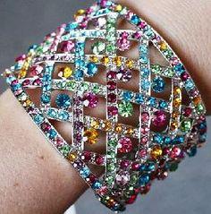 Gorgeous *new* multi color *rainbow* jeweled rhinestone cuff bracelet