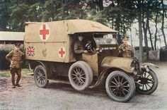 British ambulance, 1914. Motorization made possible the large-scale and relatively quick transport of the wounded to the medical staging area for the first time. Although for the length of the War only a fraction of ambulances were motorised and the army still relied heavily on horses and carts for transport of the wounded.
