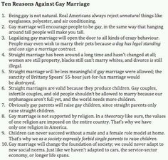 Ten Reasons Against Gay Marriage