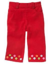 NEW Gymboree Cozy Cutie Red Corduroy Dot Cuff Pants - NWT Sz 18 - 24 mo Free Ship I pay Slice