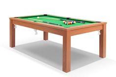 629 billard convertible en table de salle manger defaistre merisier tapis vert - Billard Table A Manger