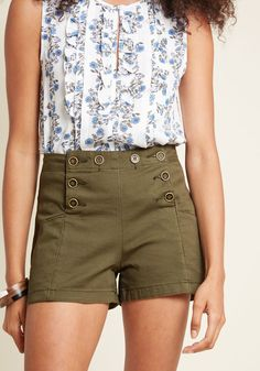 Start Off Stylish High-Waisted Shorts in Olive in S - by ModCloth