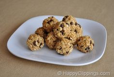 """No-Bake Granola Bites Recipe.  Good recipe...can also add dried fruit and make into """"granola pucks"""" if squished into a muffin tin :)  Yum."""