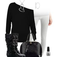 Black & Gray Leggings Outfit