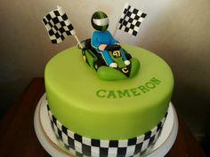 Slime Green Go Kart Thomas Birthday Cakes, Birthday Cakes For Men, Boy Birthday Parties, Car Cakes For Boys, Race Car Cakes, Go Kart Party, Car Party, Cupcakes, Cupcake Cakes