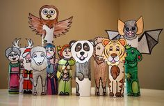Paper Roll Puppets: Printable patterns available, fun.