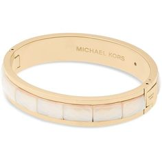 Michael Kors Hinge Bangle ($102) ❤ liked on Polyvore featuring jewelry, bracelets, gold, gold hinged bangle, michael kors bangles, hinged bracelet, bracelets bangle and gold bracelets bangles