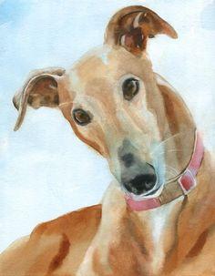 Greyhound dog art Print of my watercolor painting by rachelsstudio - Greyhound Portrait