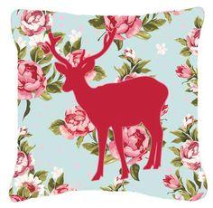 Deer Shabby Elegance Blue Roses Indoor/Outdoor Throw Pillow
