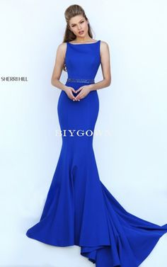 Royal 2016 Sherri Hill 50471 Fitted Sexy Back Prom Dress