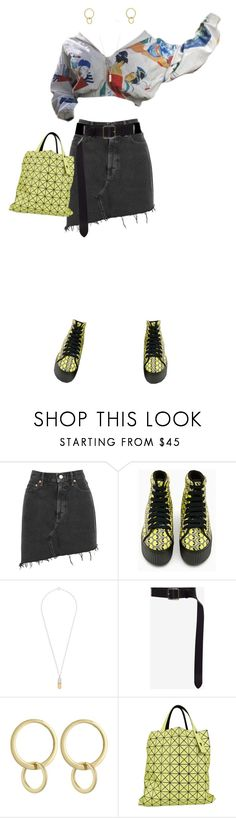 """""""Holler"""" by merryl-key ❤ liked on Polyvore featuring AGOLDE, True Rocks, Alexander McQueen, Laundry by Shelli Segal, Bao Bao by Issey Miyake, denim, cropped, lemon, denimskirt and croppedTop"""