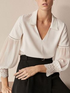 96075c951f0 Fashion Pure Color Lapel Lace Stitching Long Sleeve Shirt Bow Shorts
