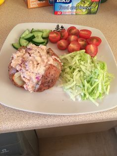 Jacket potato with tuna crunch filling & salad
