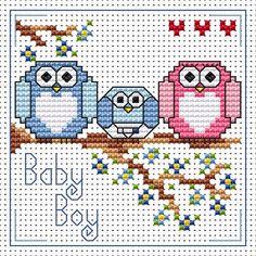 The Twitts New Baby Boy Card cross stitch kit