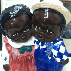 Adorable Ceramic Black Americana Boy and Girl Cookie Jar | eBay