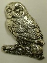 "TAWNY OWL /""Birds,Animals Nature/"" Hand Made in UK Pewter Lapel Pin Badge"