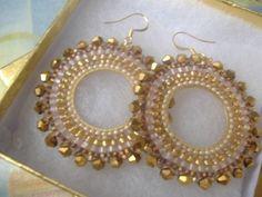 Aretes de perlas bronce diosa II semilla cristal aretes de