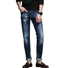 Men's Fashion Jeans Thin Straight Mid-waist Jeans Men Long Trousers Solid Washed Denim Overalls Men