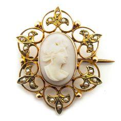 Antique Victorian De Fleur Cameo & Pearls 9ct Gold Brooch