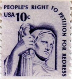 US postage stamp, 10 cents.  People's Right to Petition for Redress.  Coil stamp.  Issued 4 Nov 1977 in Tampa, FL. Scott catalog 1617.